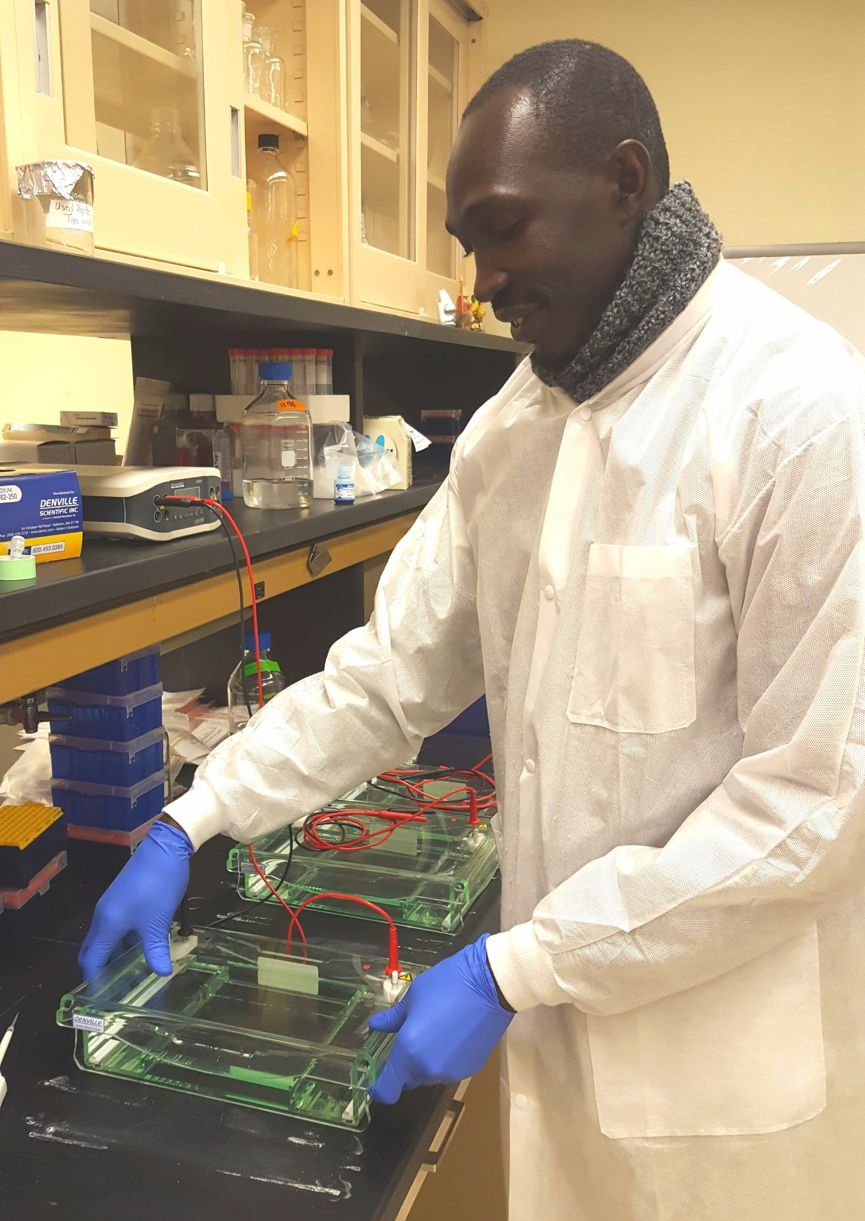 Francis Ongole in the Johns Hopkins' Lab