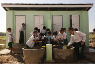 Children in Myanmar wash their hands with soap at a hand-washing station. Photo: UNICEF/NYHQ2012-2056/Dean